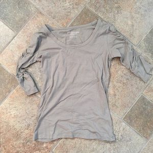 Philosophy 3/4 ruched sleeves gray top XS